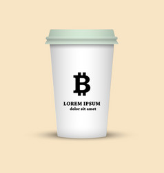 Cryptocurrency coffee coffee cup bitcoin sign vector