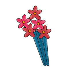 Cute drawing bouquet fllowers vector