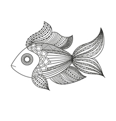 doodle coloring monochrome fish vector image