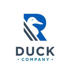 duck logo design letter r vector image