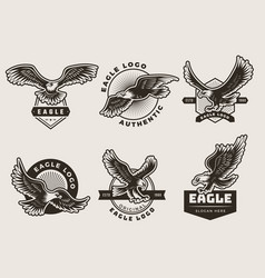 Eagles emblem stylized logotypes and badges with vector