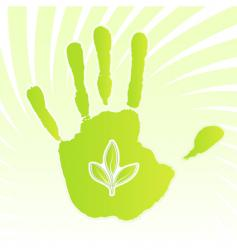 Ecology leaf handprint design vector
