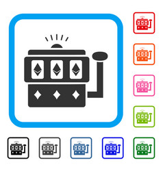 ethereum gambling machine framed icon vector image vector image