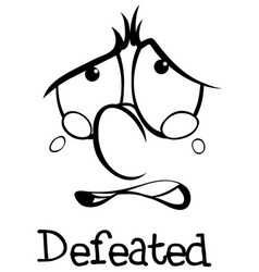 expression wordcard for defeated vector image