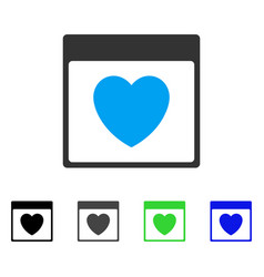 Favourite heart calendar page flat icon vector