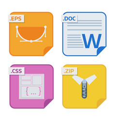 file types and formats labels icon presentation vector image