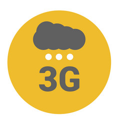 flat 3g logo with signal strength dots and cloud vector image