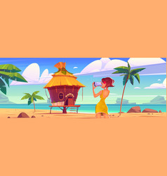 girl take photo bungalow and sea vector image