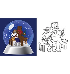 glass bowl and bear Russian man vector image