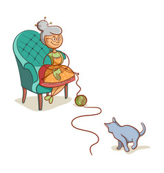 Grandmother with cat vector