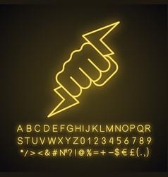 Hand holding lightning bolt neon light icon vector