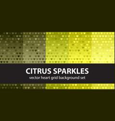 Heart pattern set citrus sparkles seamless vector