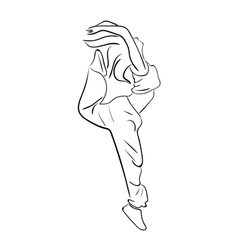 Hip-hop woman dancer contour vector