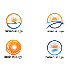 icon logo template sun over horizon vector image