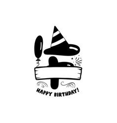 initial birthday f letter happy birthday monogram vector image