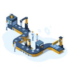 Isometric factory automated mechanised conveyor vector