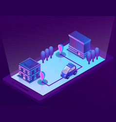 isometric smart car technology for vector image