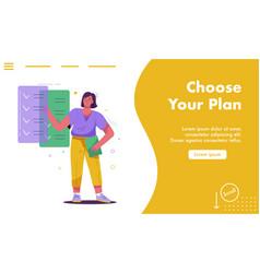 Landing page choose plan concept vector