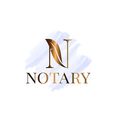 Letter n with feather notary watercolor logo vector