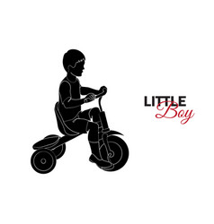 little child baby little boy riding a bicycle vector image