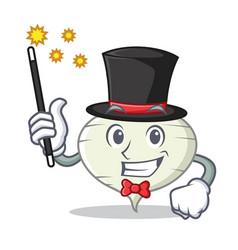 magician turnip mascot cartoon style vector image