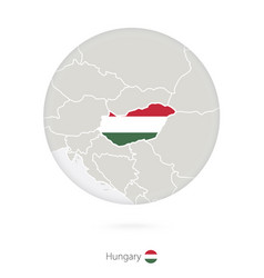Map hungary and national flag in a circle vector