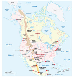 Map rocky mountains in north america vector