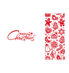 merry christmas greeting card handwritten text and vector image
