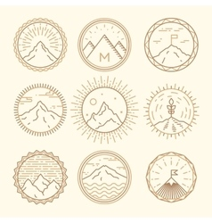 Mountains icons logotypes monogram linear style vector image