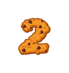 Number 2 cookies font oatmeal biscuit alphabet vector