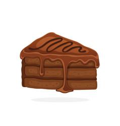 piece cake with chocolate glaze cream vector image