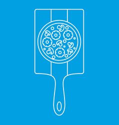 Pizza with with ingredients on board icon vector
