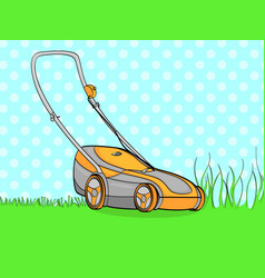 Pop art background blue electro machine lawn vector
