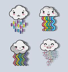 Rainbow with kawaii tenders clouds design vector