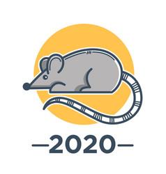 rat zodiac sign chinese horoscope symbol 2020 vector image