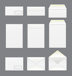 realistic detailed 3d white blank envelopes vector image