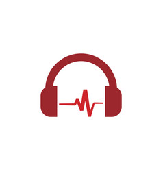 red headphone template vector image