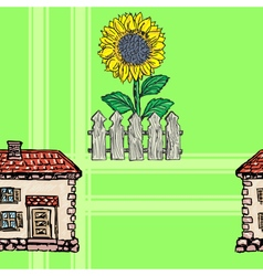 Seamless background with village motives vector