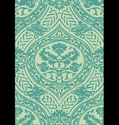 Seamless floral antique pattern blue light vector