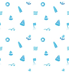 Seamless of sea subject and symbols vector