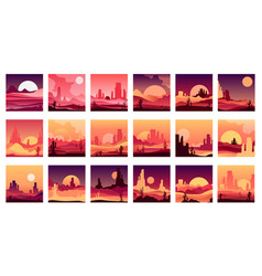 set cards with western desert landscapes vector image