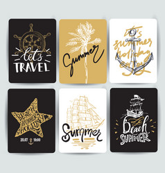 set hand drawn stickers summer vector image