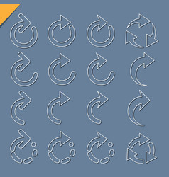 set of 3d rounded arrow white icons vector image