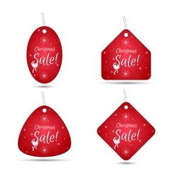Set of four festive Christmas coupon tags red vector image