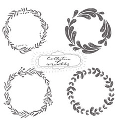 set of hand drawn wreaths vector image
