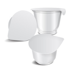 Set of round white glossy plastic pot with vector
