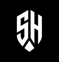 sh logo monogram with emblem shield style design vector image