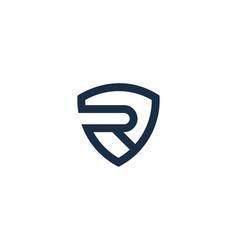 shield letter r logo icon design vector image
