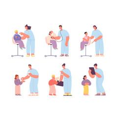 sick kids with doctor child patient children vector image