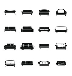 sofa chair room couch icons set simple style vector image